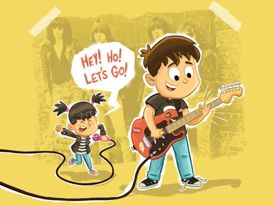 Sibling Band kidlit punk ramones band rock kids procreate illustration