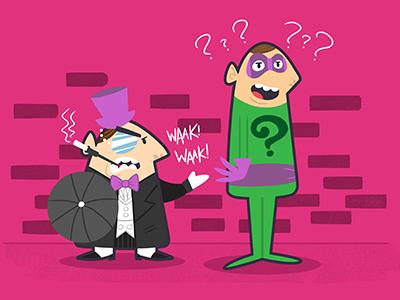 Dangerous Duo Part 1 villains penguin riddler retro 60s illustration batman