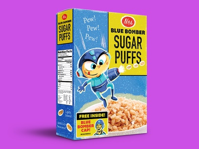 Blue Bomber Sugar Puffs package design cereal cereal box megaman illustration retro nintendo nes classic nes