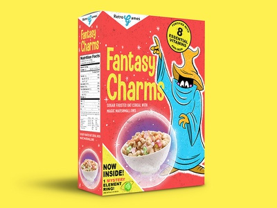 Fantasy Charms package design cereal cereal box final fantasy illustration retro nintendo nes classic nes