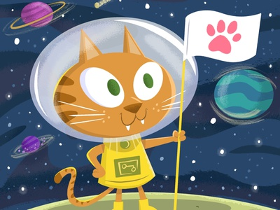 Space Cat characterdesign space cats kidlitart ipad pro illustration