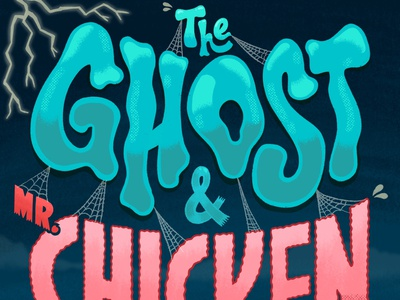 The Ghost & Mr. Chicken spooky halloween retro don knotts chicken ghost lettering ipad pro illustration