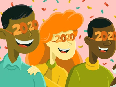 2020! dog diversity party celebrate new year 2020 ipad pro illustration