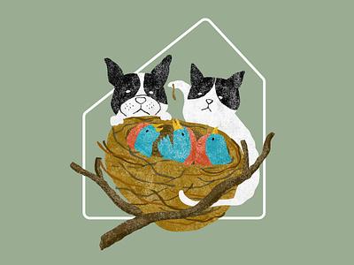 Home sweet home magazine illustration bird dog cat