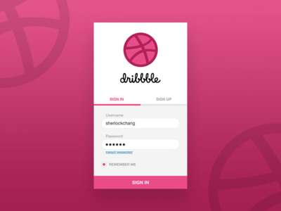 Happy New Year Dribbble! Day 1: Sign In app challenge year new shot first dribbble in sign ui dailyui debut