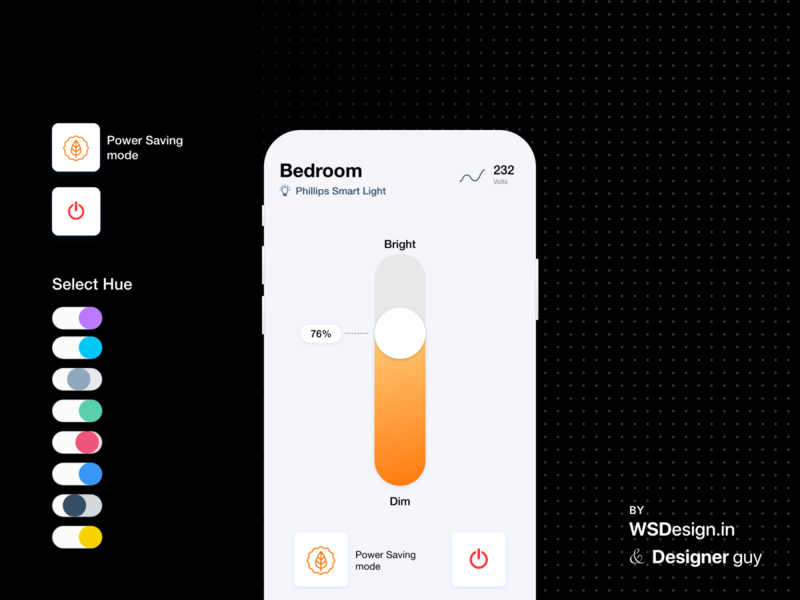 home automation, control your light its color uikit android design template uidesign uiux ui automation home