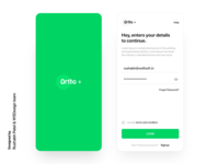 Ortho medical app login and signup design uikit illustration mobile branding ui uidesign ux android app medical health care signup login