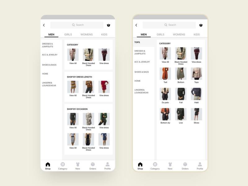 Cuccu Ecommerce - category page ecommerce shop sell online mobile app template design uikit ux ui category ui filter ecommerce design ecommerce