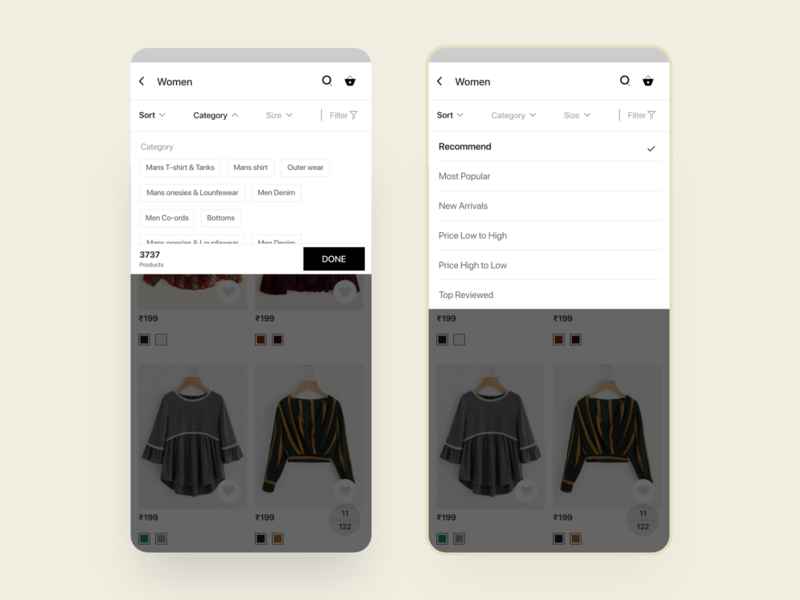 Cuccu Ecommerce - Filters on product result mobile app template android design uikit uiux ecommerce shop ecommerce app ecommerce
