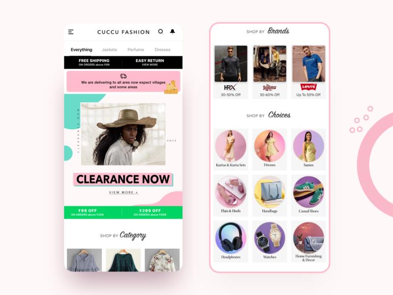 Cuccu ecommerce - Home page app ui mobile app template android design uikit uiux ecommerce business ecommerce app ecommerce design ecommerce