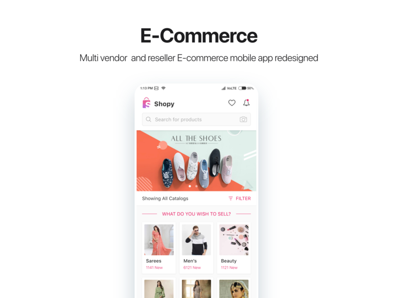 Shopy Ecommerce Redesigned - home page illustration app android design uidesign uiux ui ecommerce app vendor home page design ecommerce page landing