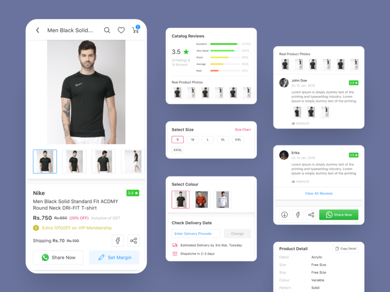 Shopy Ecommerce Redesigned - product details with cards mobile ui app template design android uikit uiux ecommerce app multivendor ecommerce product design cards detail product