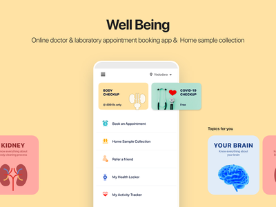 Being Well home page doctor app appointment booking health medical design illustration uiux appointment online doctor