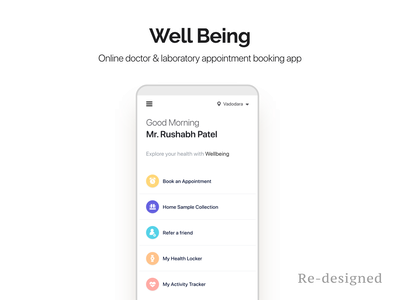 Well being home page - Redesigned health medical app doctor booking online appointment doctor appointment uiux
