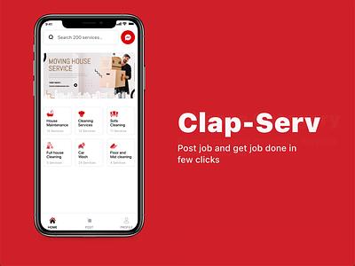 Clap-Serv create job post typography uikit illustration branding mobile android job application firebase uiuxdesign mobile app job listing job board post job