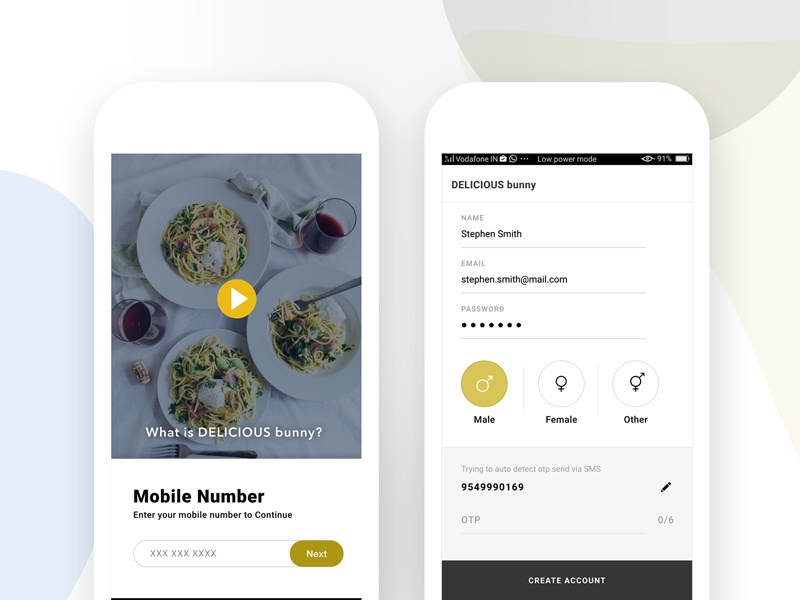 Signin Signup Process | DELICIOUS bunny review food mobile app uiux login