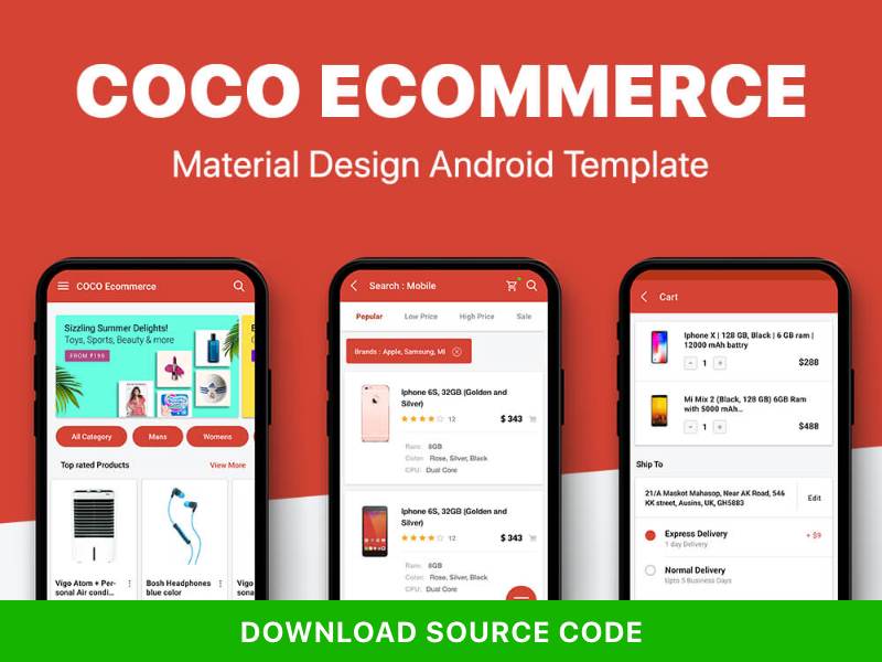 Ecommerce UI KIT in material Design mobile design android uikit app template ecommerce