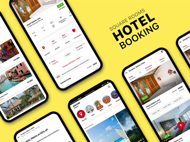Hotel booking UI KIT | SQUARE ROOMS app mobile design android uikit trip room booking hotel booking