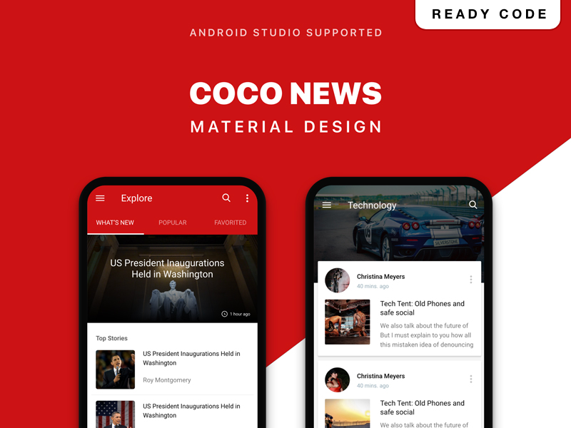 COCO NEWS UI KIT with Material Design mobile design android uikit app template news