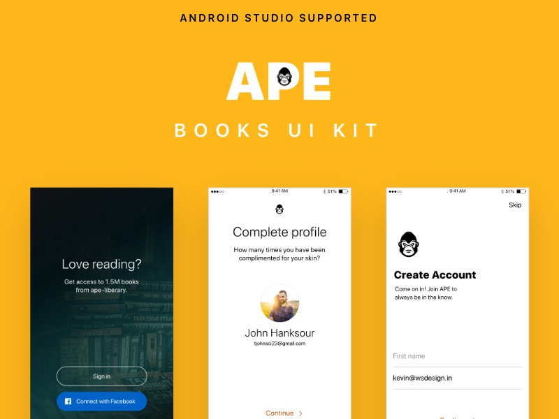 BOOKS UI KIT with Android Studio XML Code mobile design android uikit app template books