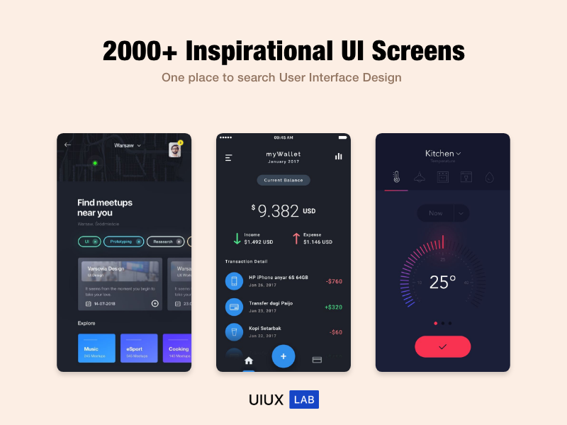 2000  Inspirational UI Screens uiux app template ux design ui mobile restaurant android ecommerce uikit