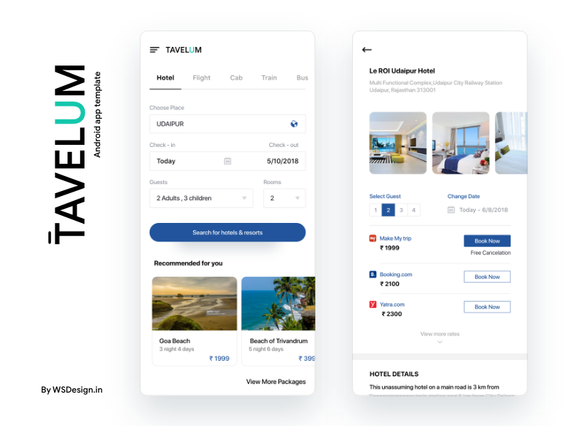 Travel app UI Kit with android source code xml code android studio compare price rooms booking places destination travel booking.com go ibibo makemytrip hotel ui hotel booking hotel app app template uiux design ecommerce uikit