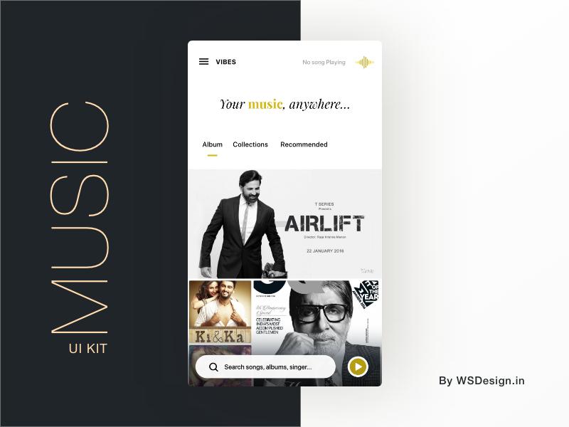 MUSIC UI KIT app template mobile design ui ux illustration music album uiuxdesign uiux songs andorid uikit music
