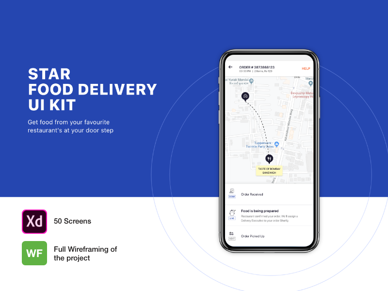 STAR FOOD DELIVERY APP UI KIT WITH 50 Screens food panda swiggy wireframe template app design template ui kit restaurant hotel online food food delivery app