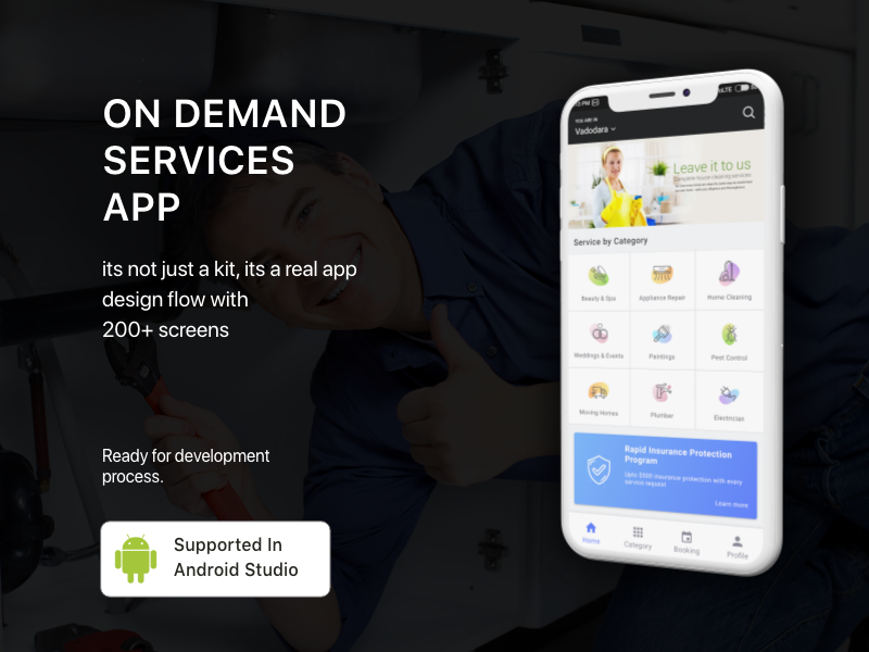 On demand service concept -  Android App Template home services facial hair cut design uiux app template android services on demand ecommerce uikit