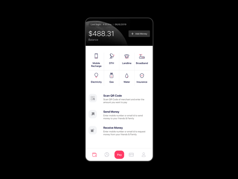 Blu Payment Android app with firebase backend wallet mobile recharge pay merchant transfer money received money send money ecommerce online payment firebase app template uikit uiux payment gateway ewallet payment