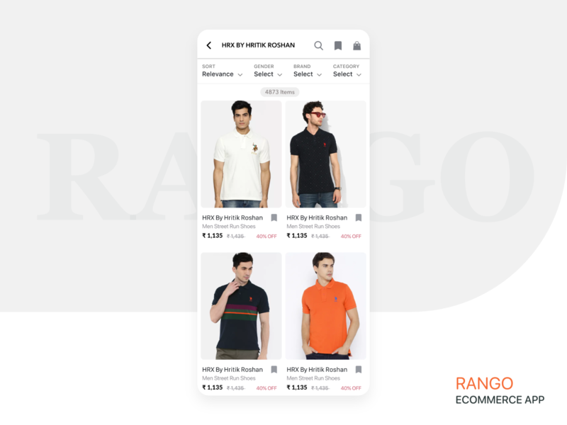 RANGO ECOMMERCE APP user interface uiux design product list products deisgn mobile app android app template ecommerce