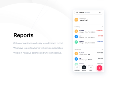 Reports of expense card UIUX Design by wsdesin