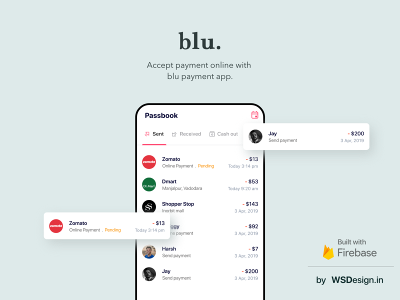 Blu payment app uiux design with firebase backend mobile design swiggy zomato pay online accept payment payment uiux design paytm development agency mobile app mobile uiux firebase