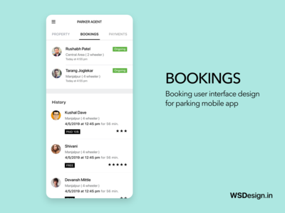Parking app booking page uiux design