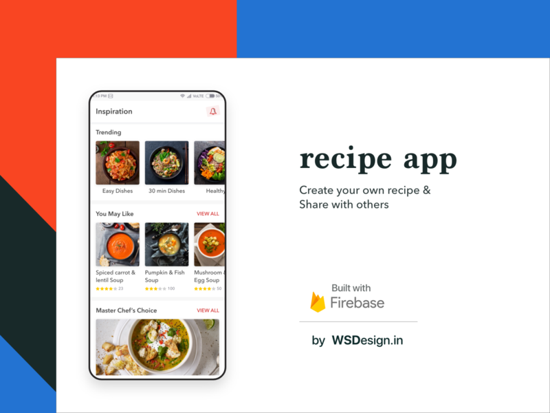 Recipe app uiux design with firebase mobile app android app development redesign firebase ux ui cooking food recipe