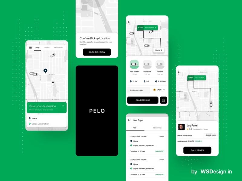 PELO taxi booking app uiux design grab clone ola cline uber clone uiux designer android mobile app uiux design cab booking taxi booking