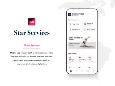 Star Services, home services mobile app uiux & Development uikit illustration app template google firebase branding yoga home services mobile app uidesign ux ui
