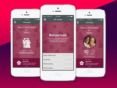 Matrimonio.it + PinkUp (Mobile App) mobile app userexperience design ux ui planner wedding