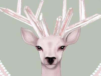 Deer digital illustration pastel painting photoshop drawn digital illustration illustration deer