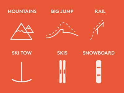 Winter-sport Minicons set icons minicons winter minimal set flat