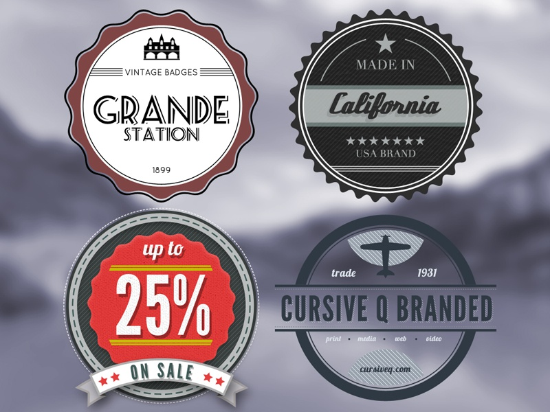 Vintage Retro Badges (Free PSD) vintage retro badges free psd photoshop template cursive q designs for sale old brand sticker