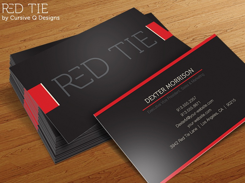 Red Tie Free Business Card Template PSD By Cursive Q Designs - Free online business cards templates
