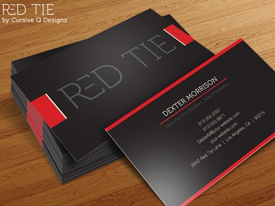 Red Tie Free Business Card Template PSD By Cursive Q Designs - Business cards templates psd