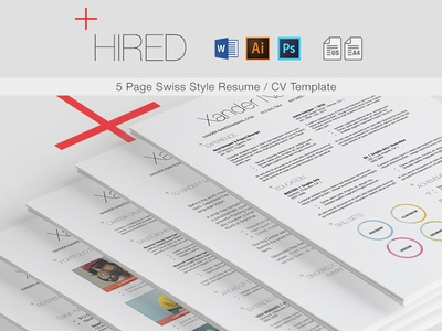 hired swiss style 5 page resume cv template by cursive q designs