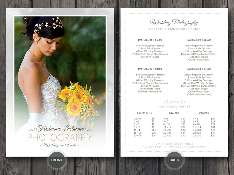 Wedding Photographer Price Guide Card Template Psd Photo Bridal Event 5x7