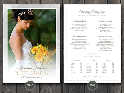 Delightful Wedding Photographer Price Guide Card Template