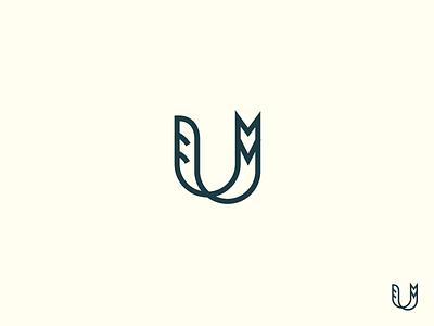 U logo design typography icon mark sketch symbol animal fox