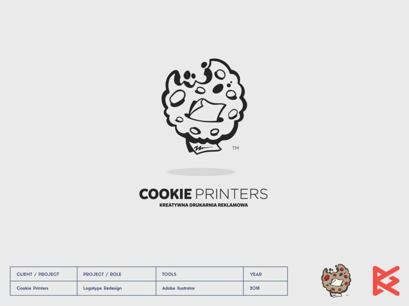 Cookie Printers design ilustrator printing house cookie symbol logo print
