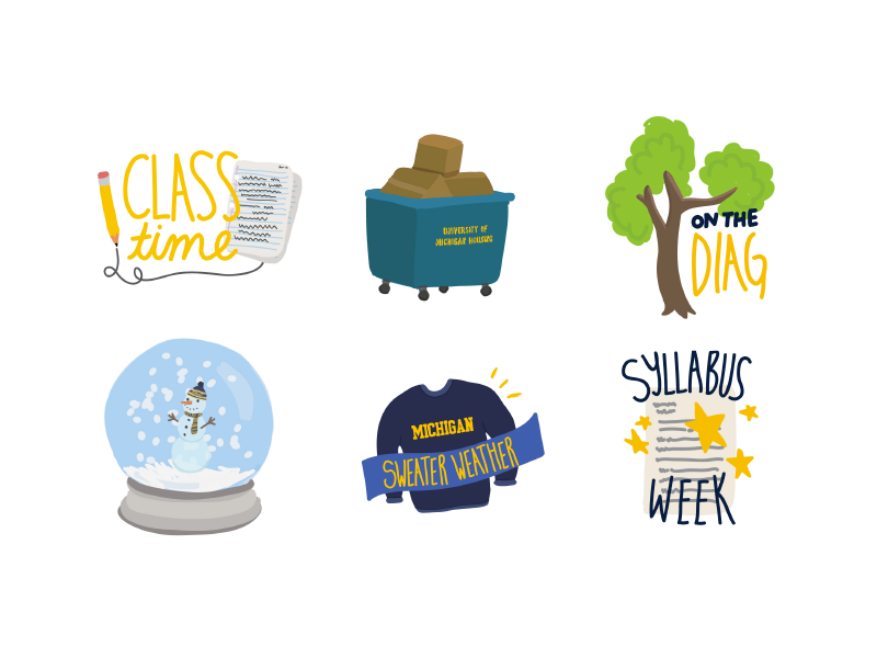 michigan sticker pack doodle hand-lettering stickers university michigan