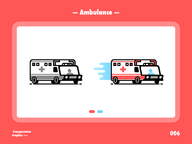 Ambulance~ ambulance red blue illustration flat